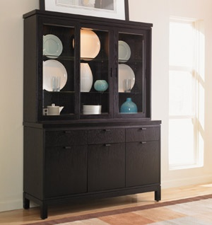 Hutch display idea bottom cupboards used to store servingware platters glass cupboard in - Black dining room buffet ...