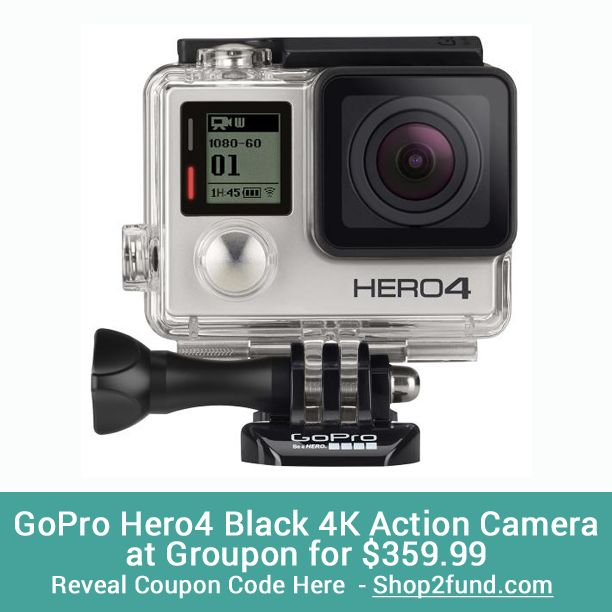 #Groupon is offering #GoPro #Hero4 Black 4K Action Camera for $399.99. With its current 10% off Groupon Goods coupon code, that brings the price down to $359.99 ($40 off)! Plus there is free shipping. Hurry, the coupon code ends today, 3/24!  Reveal Coupon Code Here: www.shop2fund.com