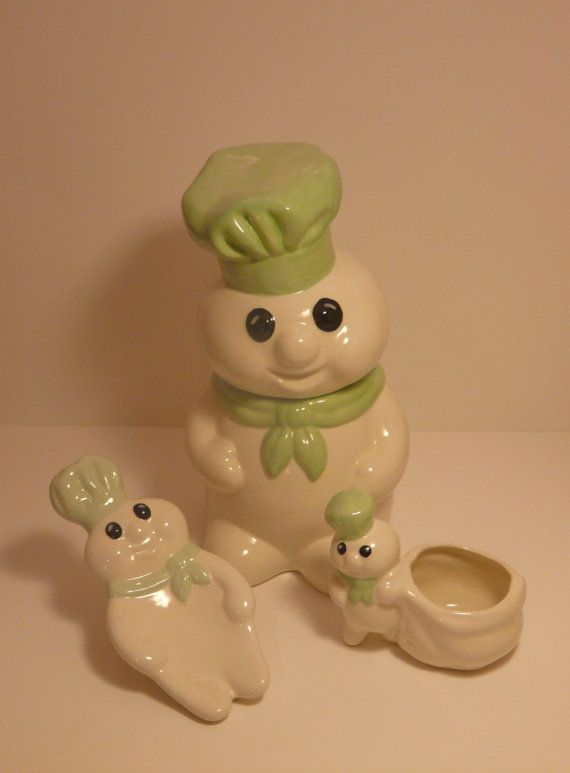 Pillsbury Dough Boy Cookie Jar Ceramic Set by NeverLostGarden, $22.50