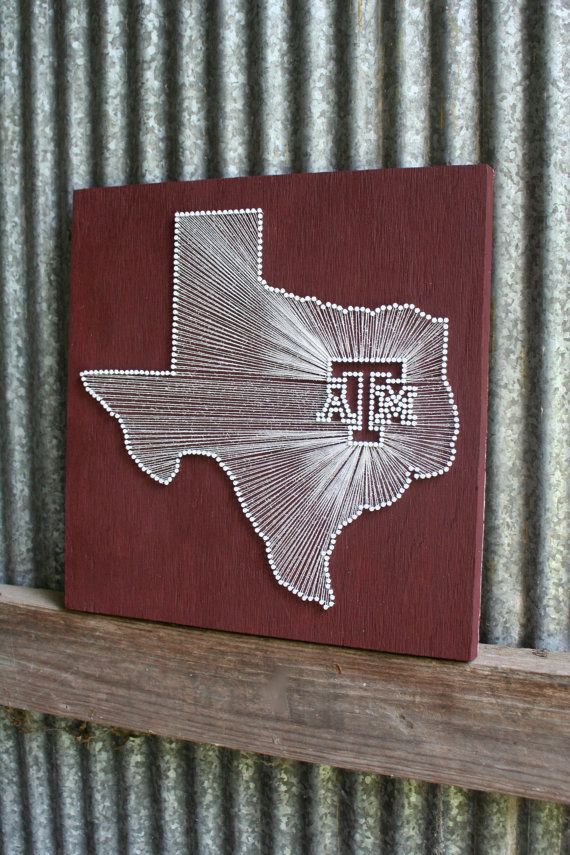 Aggie Pride // Reclaimed Wood Nail and String Tribute to Texas A  University. via - 35 Best Images About Texas A&M On Pinterest Am, College Station