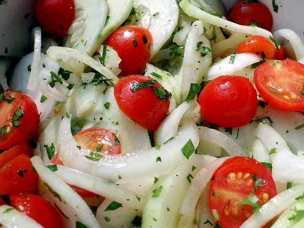 Cucumber Salad with Onion and Tomatoes