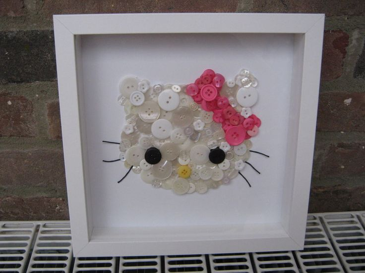 UNIQUE HANDMADE HELLO KITTY BUTTON ART BOX FRAMED PICTURE CUSTOM PERSONALISED