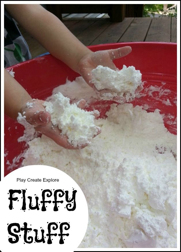 "Indoor Snow! ""Fluffy Stuff"" (2 boxes cornstarch and 1 can shaving cream; color if desired) -- moldable. Haven't seen this before."