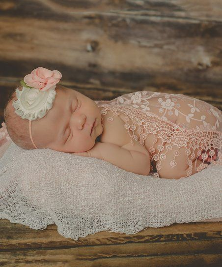 Charlotte Rose Couture Melon Lace Wrap & Floral Headband - Infant | zulily