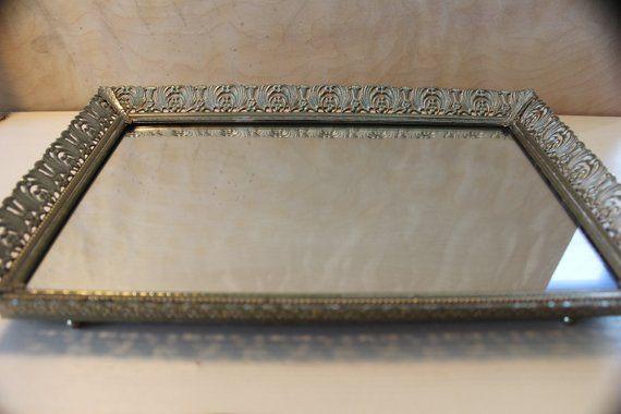 Vanity Tray Mirror Vintage Vanity Mirror Tray Gold Dresser Tray Jewelry Tray Perfume Tray Filigree White Tray Vintage Vanity Vanity Tray Jewelry Tray