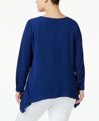 Ny Collection Plus Size Handkerchief-Hem Blouse - Blue 3X