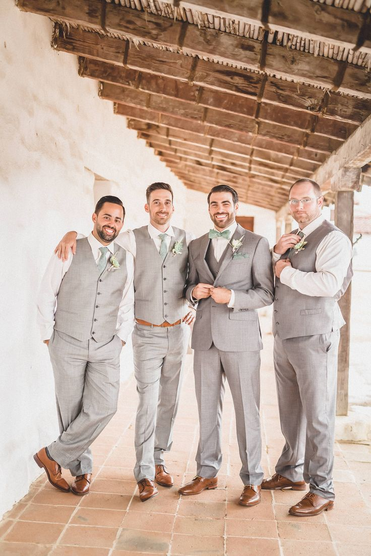 Brown shoes, light grey suits, sage green ties, groomsmen style, wedding fashion // Rewind Photography