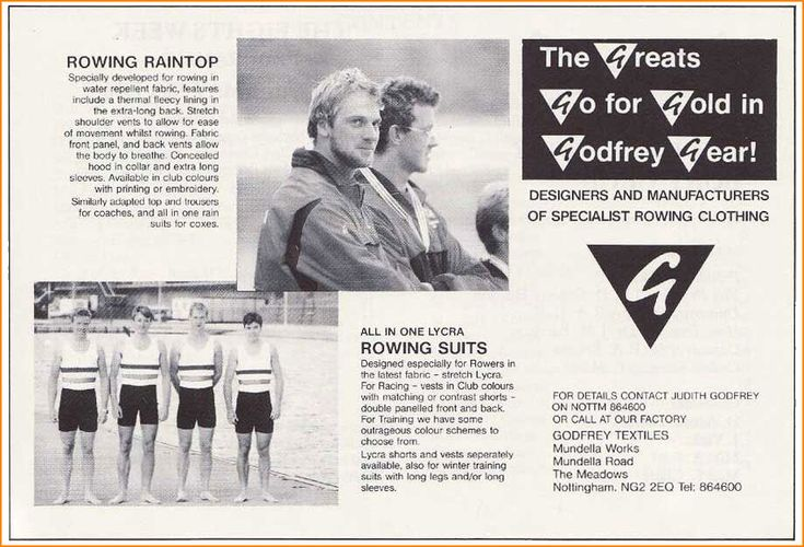 1988  The A.R.A. award the contract for all GB & England team kit to Godfrey Rowsports.  Steve Redgrave & Andy Holmes win gold at Seoul Olympics wearing kit made by Godfrey  kit!