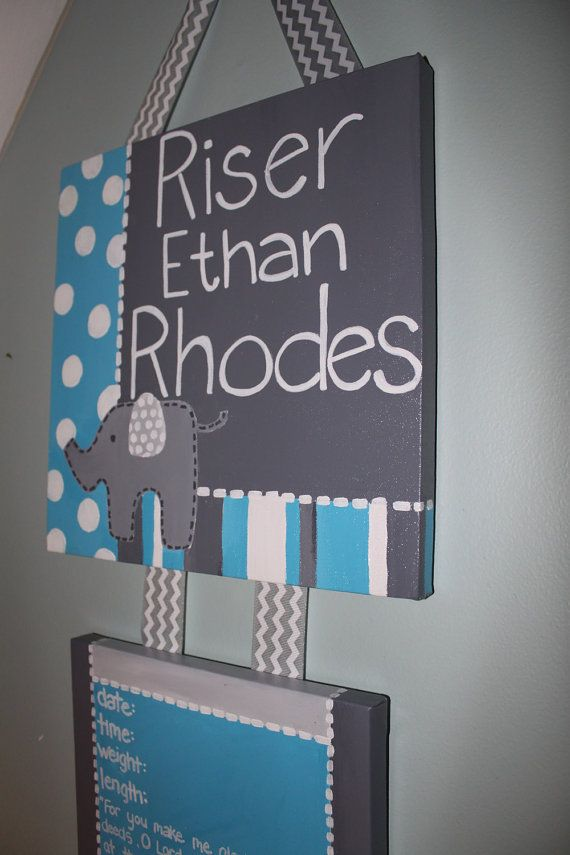Gray Blue Elephant Door Hanger Hospital Birth by gloriartbybrooke, $45.00