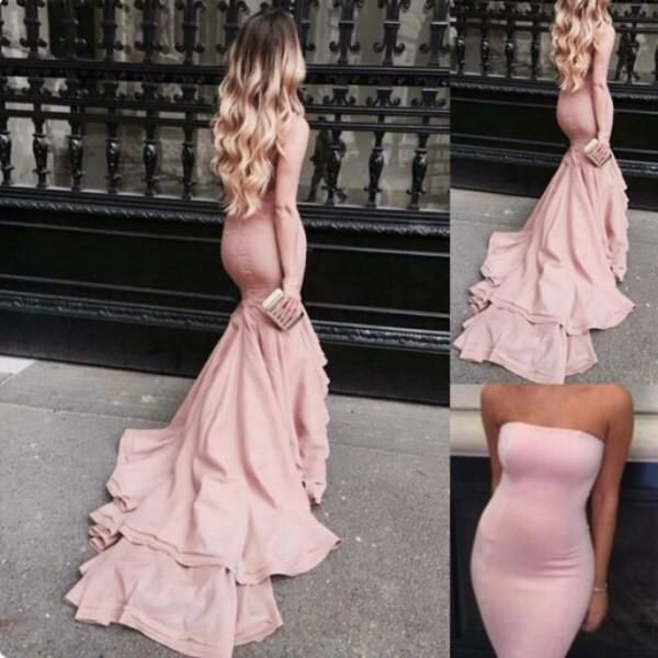 Blush Pink Prom Dresses Mermaid Strapless Satin Bodycon Evening Gowns With Court Train Tight Long Special Occasions Dress Royal Blue Prom Dresses Short Formal Dresses From Firstladybridal, $103.2| Dhgate.Com