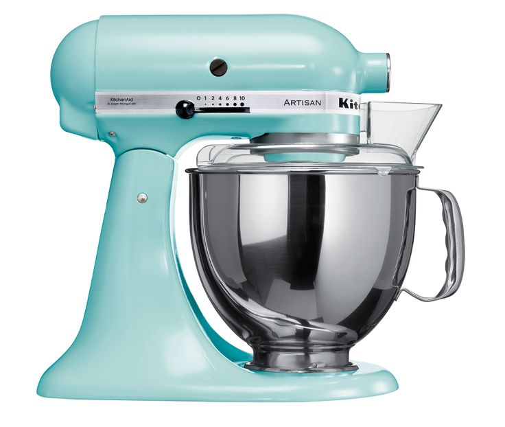 Ice Blue - Artisan Tilt-Head Stand Mixer 300W iconic die-cast construction, tilt-head design, direct drive, planetary mixing action, includes dough hook, flat beater, wire whisk, pouring shield and 4.8L stainless steel bowl