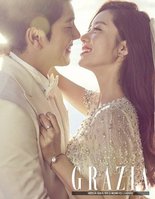 Han Groo and her fiancee are a lovely couple in wedding photoshoot | allkpop.com
