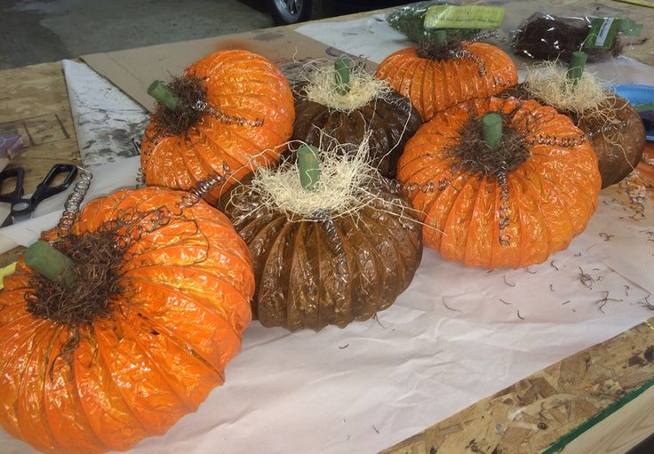 Rustic pumpkins made from dryer vent pipe