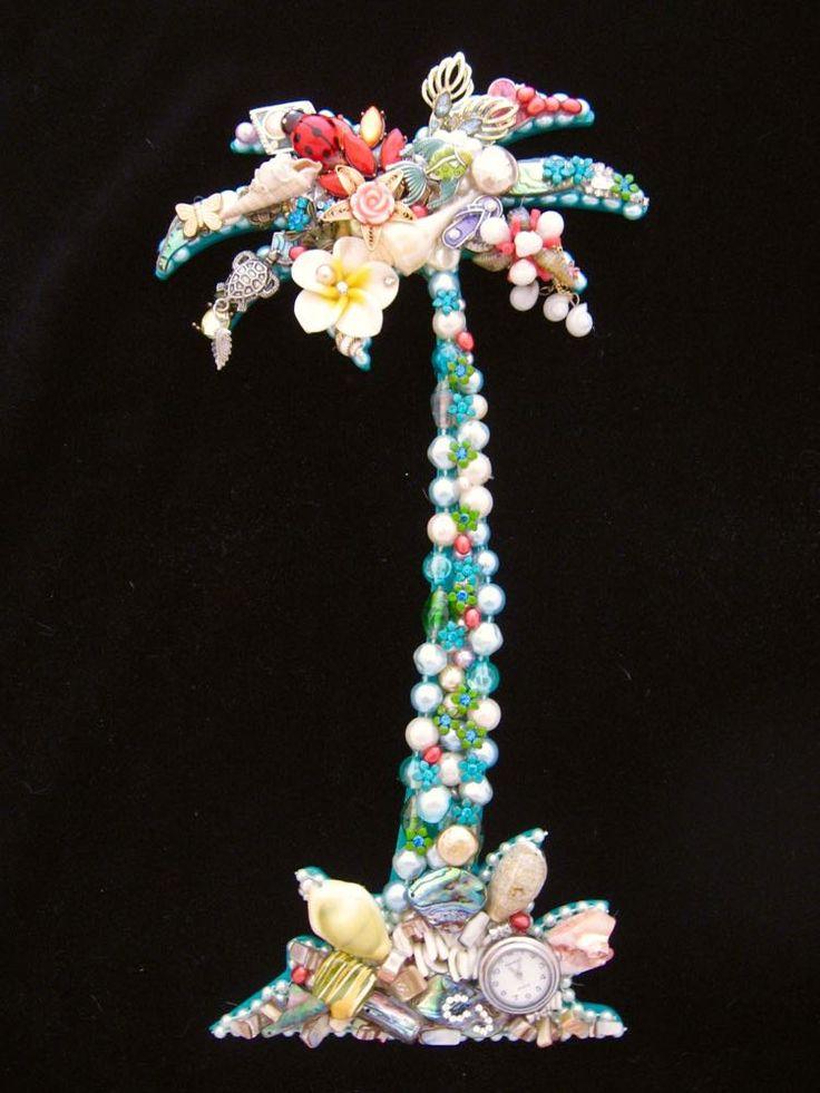 CJ Borden. Siesta Key Tropical Palm Tree Vintage Jewelry Art. Jewelry Wall Art. By ArtCreationsByCJ on Etsy.