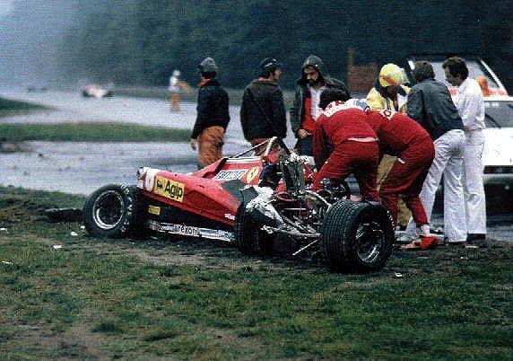 Ferrari wreck of Didier Pironi, Hockenheim 1982