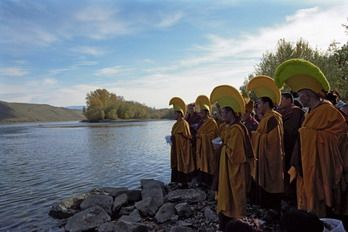 Monks singing mantras before pouring sand from destroyed Mandala into the Ulug-Khem (Upper Yenisei) River.