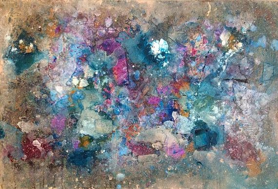 Original 24x26, Large wall Art  . Abstract , blue, pink , Modern Expressionist Painting