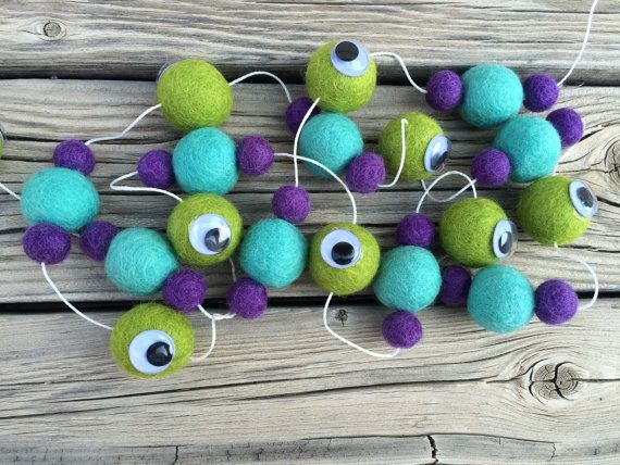 Mike and Sulley Monsters Inc, felt ball, Garland, Felt Ball Garland, Pom Pom…