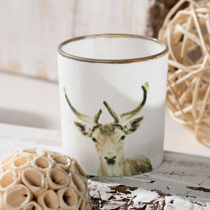Świecznik Scandi Deer wys. 7,5cm, 7,5cm - Dekoria