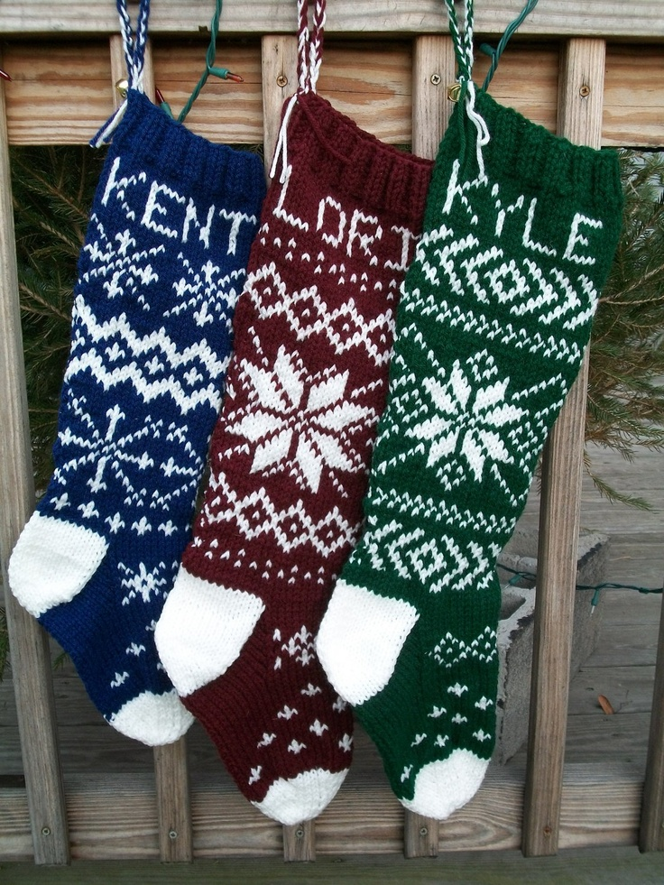 Knitting Pattern For Christmas Stocking Personalized : 25+ best ideas about Knitted Christmas Stockings on Pinterest Knitted chris...