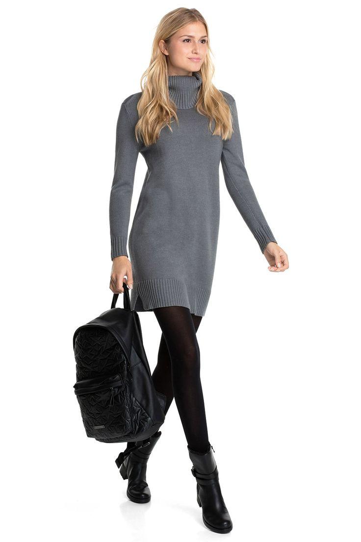 Esprit / Sportieve, gebreide jurk met rolkraag