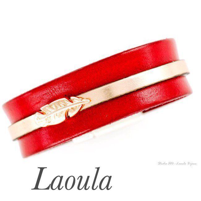 Bracelet en cuir rouge et doré femme 269466