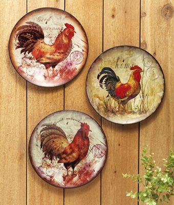 Decorative Metal Rooster Wall Plates