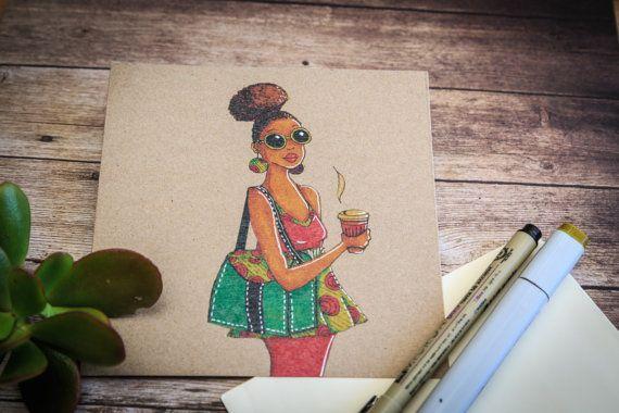 Modern African Woman greeting card on etsy $6.00 by cardwellandink