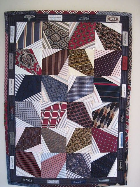 Tie Quilt - I like this one the best, but without the labels around the outside. Love the little dress shirt buttons in the center of the pinwheels.