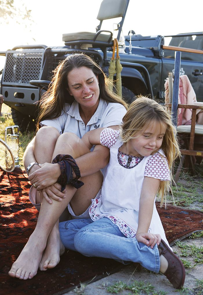 Mother and daughter: Kate with her daughter, Emma, who has grown up in the bush. Photograph by Elsa Young