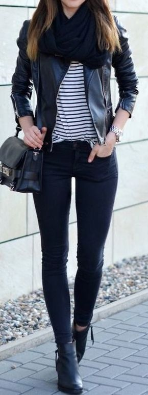 #street #style / fall stripes + leather