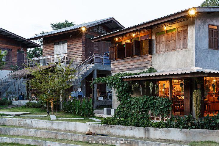 ออกแบบบ้านทรงไทยประยุกต์ ชั้นล่างปูนขัดมัน ชั้นบนไม้