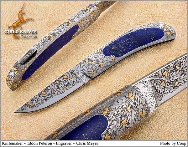 Knife Model Gallery (SOLD - Example Only)/LAPIS ACORN TREE Eldon Peterson Custom Knife - Guild Knives