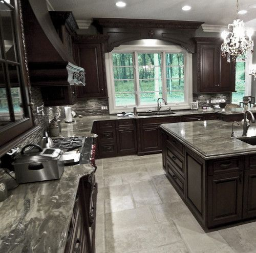 Kitchen Cabinet Stain Ideas: Dark Stain Cabinets, Backsplash, Window Valance