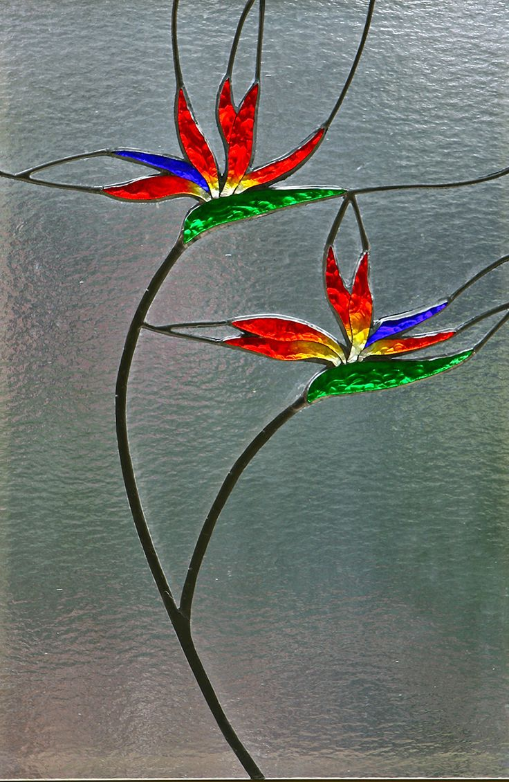 Stained glass bird of paradise | bird of paradise | Foiled and Faceted Stained Glass.... make this in an abstract form but use the same colours
