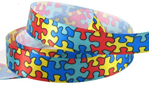 """Jigsaw Puzzle Autism Awareness Satin or Grosgrain Ribbon (20yd or 4x5yd 5/8"""" HipGirl Satin Autism Ribbon). All proceeds go to National Society for Autistic Children (Autism Society): http://www.autism-society.org. HipGirl http://www.amazon.com/dp/B00C5JM7IW/ref=cm_sw_r_pi_dp_Uvf5wb100EMT9"""