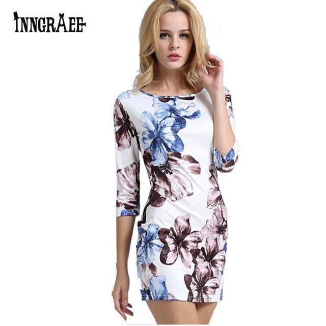Inngraee 2017 Summer Fashion Casual Women Dress Half Sleeve Asymmetrical neck Dress Sheath Bodycon Dresses NS8121