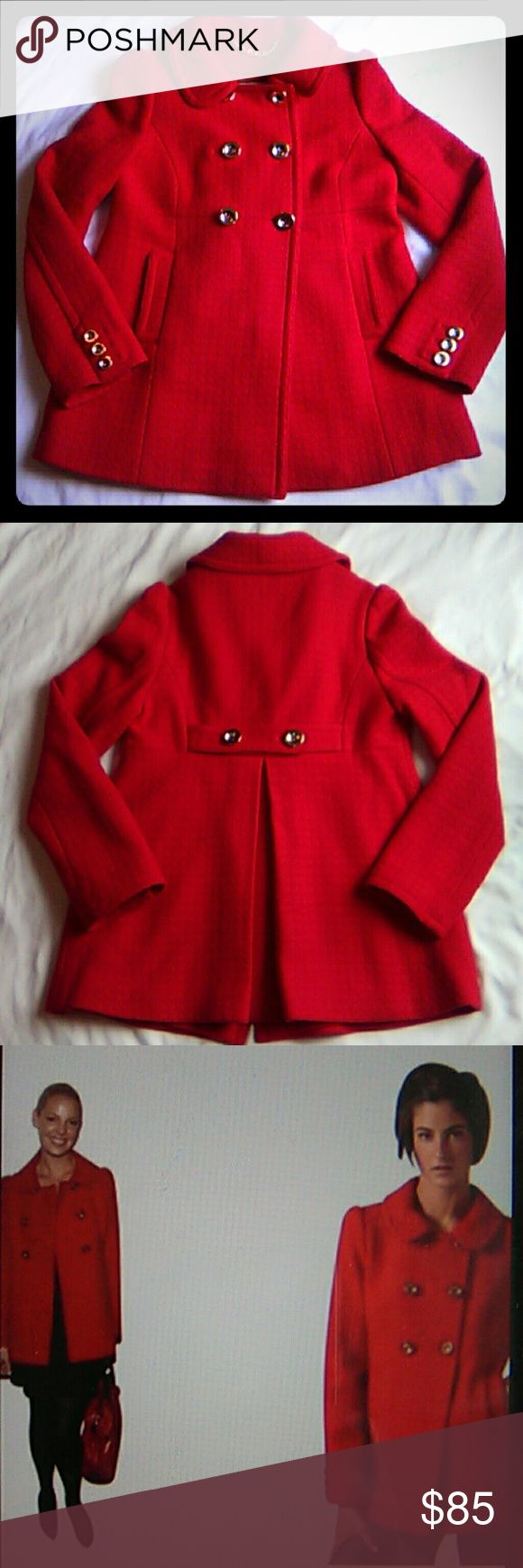 """Juicy Couture Red Wool Blend Swing Pea Coat Juicy Couture Red Wool Blend Pea coat with gold buttons. Perfect peacoat to make a statement. Warm and cozy. Peter Pan collar. Worn a few times but still in great condition! Measurements laying flat: length 26 1/2"""", bust 18"""" and sleeves length 24"""" Juicy Couture Jackets & Coats Pea Coats"""