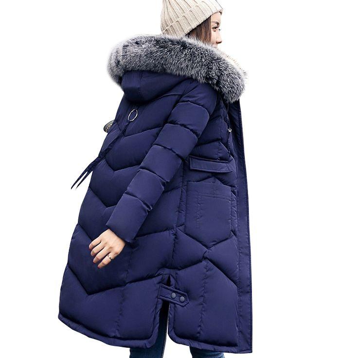 2017 mujeres del invierno con capucha abrigo de cuello de piel espesar caliente chaqueta larga mujer plus tamaño 3XL abrigos parka señoras chaqueta feminino | 32821671802_es