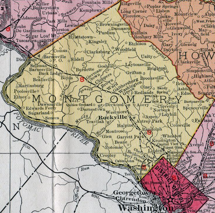 Montgomery County, Maryland, Map, 1911, Rand McNally, Rockville, Chevy Chase, Bethesda, Silver Spring, Potomac, Wheaton, Poolesville, Olney, Gaithersburg, Germantown, Damascus, Cabin John, Redland, Ashton