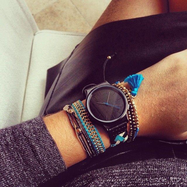 Komono Watch Black Blue Gold Multiple Bracelets