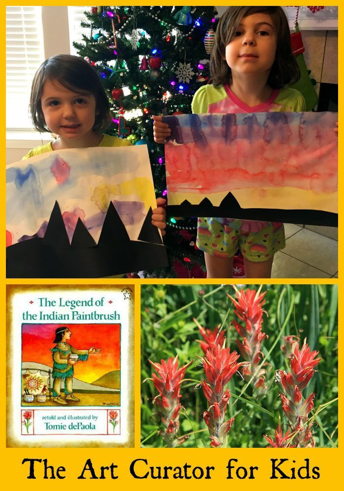 The Art Curator for Kids - The Legend of the Indian Paintbrush Art Project Watercolor Painting-Pin
