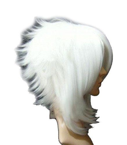 """Anime Costume Play Wig Kanekalon Hair (Model: Jf010157) (White) by cool2day. $22.97. pro costume anime Short white Cosplay Party Wig Specifications: Hair material: 100% Japanese Kanekalon (high quality one) made fiber.   Top Material and design: Adjustable Monofilament Net.   Color: as the picture (white)   Weight: 0.18kg   Texture: straight    Size: """"One-size-fits-most"""" and work for both men and women   AAA High quality   Hair type: We GUARANTEE that the hair we sell is 100%..."""