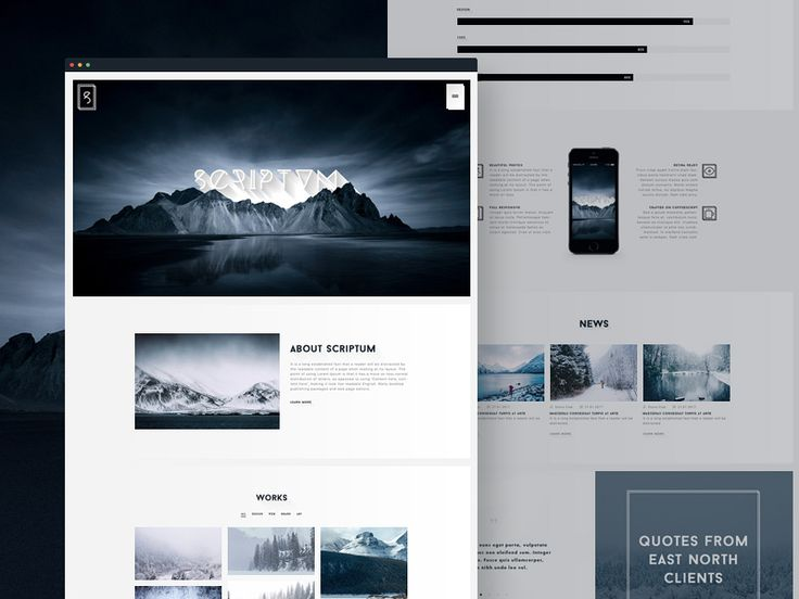 Scriptum is a creative and modern one page psd template mostly useful to artists, photographers and creative people. It has a very clean and simple design that uses a beautiful nordic style. The template has a minimalistic logo and a couple of line icons that you can use in other projects. Great job done by Andrejs Hairulins.