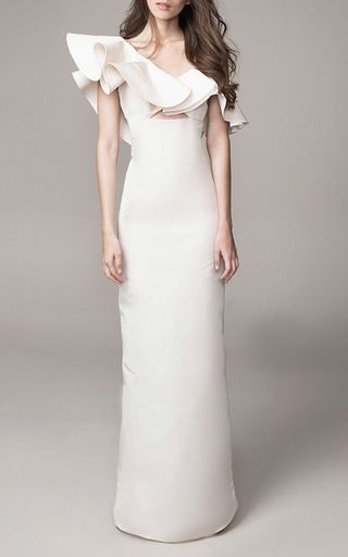 this is the top of the list so far. love the ruffling on top contrasted with the elegance of the column through the bottom. this is an off-the-shoulder piece that isn't too obvious, and the panel on the back hides my tattoo. so in love with this style. Gaviota Dress by Johanna Ortiz
