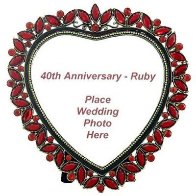... Ruby Heart Frame - Beautiful 40th Ruby Wedding Anniversary Gift