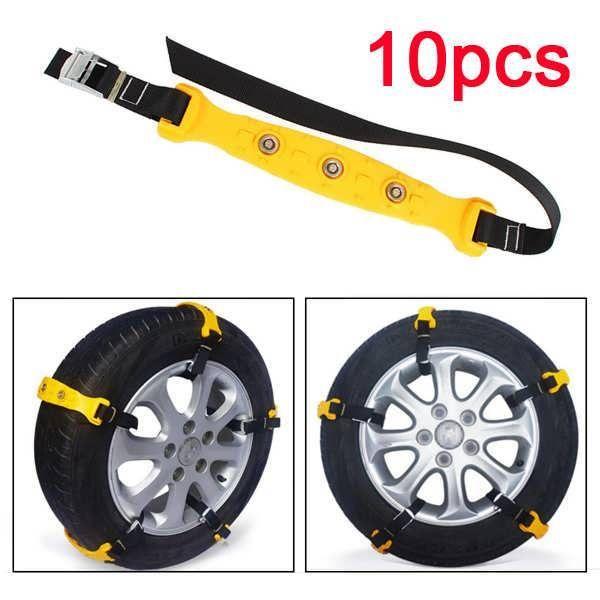 10pcs Car Tire Snow Chains Beef Tendon VAN Wheel Tyre Anti-skid TPU Chains Set