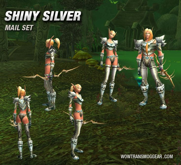 Shiny Silver Mail Transmog Set Blood Elf, you can see how it looks on all races on the site.