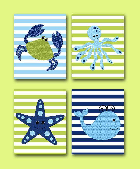 Crab Nursery Whale Nursery Octopus Nursery Baby by artbynataera, $80.00