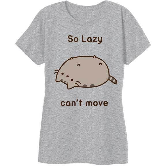 Pusheen Cat Kitty So Lazy Can't Move Junior's Ladies NWT T-shirt - Grey #Pusheen #GraphicTee